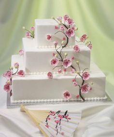 Cherry Blossom Gum Paste Flowers for Weddings and Cake Decorating Cherry Blossom Theme, Cherry Blossom Wedding, Cherry Blossoms, Square Wedding Cakes, Wedding Cake Designs, Cake Wedding, Creative Wedding Cakes, Wedding Desserts, Beautiful Wedding Cakes