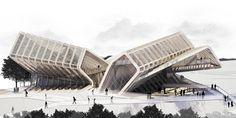 CAAT Studio Architecture's rendering for a media complex in Tehran.