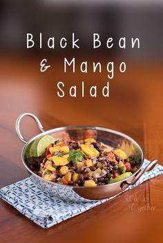 Black Bean and Mango Salad Taco Side Dishes, Feel Good Food, Mango Salad, Tasty, Yummy Food, Canned Black Beans, Frozen Fruit, Salad Ingredients, Easy Salads