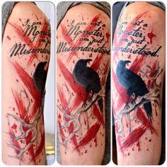 Custom Polka Trash Half Sleeve Tattoo by Joshua Doyon (IG: @InkedUpGing)