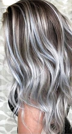 hair highlights ombre 36 Gray Silver Ombre Hair Color Ideas for Attention-Grabbing Gals - Love Casual . 36 Gray Silver Ombre Hair Color Ideas for Attention-Grabbing Gals - Love Casual Style Silver Hair Highlights, Silver Ombre Hair, Brown Ombre Hair, Ombre Hair Color, Hair Color Balayage, Cool Hair Color, Ash Ombre, Gray Hair Colors, Brown And Silver Hair