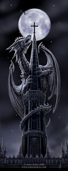 Anne Stokes Art, dragon on a cathedral roof
