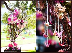 Cherry Blossom and Paper Crane Wedding Theme. Could be good if we have a money tree. Cherry Blossom Wedding, Cherry Blossoms, Paper Crane Wedding, Origami Wedding Invitations, August Wedding, Spring Wedding, Asian Party, Hanging Crystals, Origami Animals