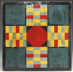 polychrome painted Parcheesi game board,