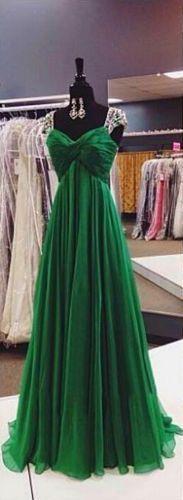 Vestido de novia vestido de fiesta Verde Esmeralda Cristal de gasa de noche formal largo fiesta Baile de graduación