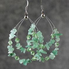 Green Jade big tear drop hoop Earrings Bridesmaids gifts Free US Shipping handmade Anni Designs