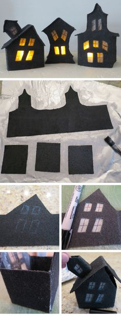 Creepy House Luminaries   Click Pic for 20 DIY Halloween Decorations for Kids to Make   Cheap and Easy Halloween Decorations on a Budget