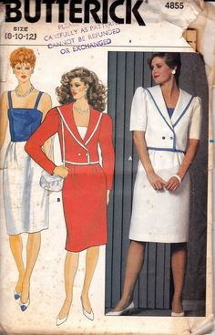 1980s Sundress & Sailor Jacket Pattern Butterick 4855 Vintage Sewing Pattern Size 8 10 12 UNCUT Factory Folded