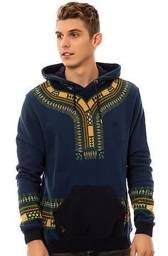 Der Dashiki Hoody in Navy von 10 Deep African Inspired Fashion, African Men Fashion, Africa Fashion, Tribal Fashion, African Attire, African Wear, Kitenge, Mens Fashion Wear, Fashion Outfits