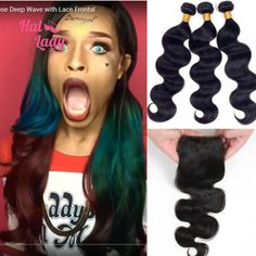 Halo Lady Hair 3 or 4 Bundles Brazilian Virgin Hair Body Wave Hair Weaves With Lace Top Closure Free/ Middle / 3 Part Human Hair