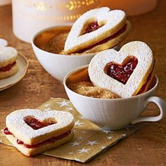 "Lingonberry Hearts - A ""window"" on the top of these cookies shows off the jam inside."