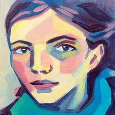 Portrait au foulard bleu peinture acrylique et pigments par Ullice