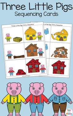 Add these free printable sequencing cards to your three little pigs craft activities for preschool and kindergarten kids. Children will love retelling this fairytale story via /funwithmama/ 3 Little Pigs Activities, Retelling Activities, Fairy Tale Activities, Book Activities, Activity Ideas, Rhyming Preschool, Nursery Rhymes Preschool, Preschool Themes, Preschool Books