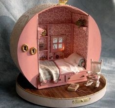 Miniature dollhouse made from a hat box or shoe box. There are no directions with this link.