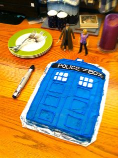 TARDIS cake my sister and I made for our mom for Mother's Day! :)