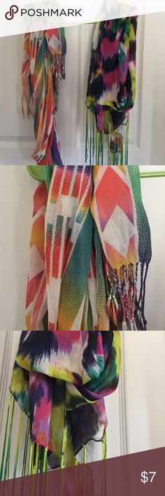 Colorful patterned scarves Bundle of two, both with fringed ends Charlotte Russe Accessories Scarves & Wraps