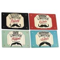 4 Sets de Table Moustaches Natives déco rétro et vintage
