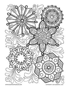 Detailed Snowflake coloring page for grown ups Adult Coloring