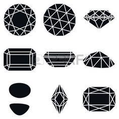 http://rubies.work/0922-emerald-pendant/ faceting: Basic Diamond Gemstone Shapes Icons, Vector Illustration Illustration