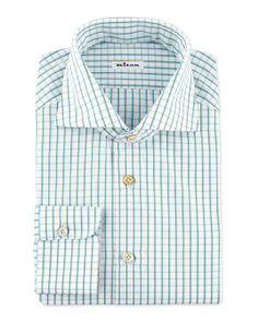 Kiton | Multi-Check Dress Shirt, Teal/Brown | menswear essential checked shirt #kiton #checked #shirt