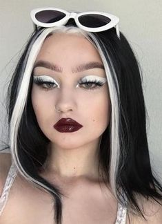 this is a couple weeks old I forgot to post it oops ———————————————————————— 𝐄𝐘𝐄? White Streak In Hair, Black Hair With Highlights, White Hair, Black And White Wig, Girls With Black Hair, Hair Color Streaks, Hair Dye Colors, Hair Inspo, Hair Inspiration