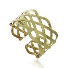 18K Gold Plated Crisscross Cuff Bangle Bracelet SilverSpeck. $22.99
