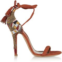 Etro Beaded suede sandals (€555) ❤ liked on Polyvore featuring shoes, sandals, heels, lace up high heel sandals, tassel sandals, high heel shoes, boho shoes and suede sandals