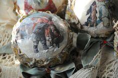 Купить Набор елочных шаров ,,Сияющий,, - золотой, елочные игрушки декупаж, елочные шары декупаж