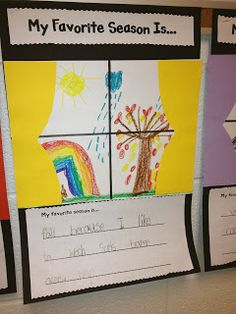 """Such a fun art and writing idea - have student write about their favorite season, then draw what they would see out their window in that season.  They can then """"hang curtains"""" on their window."""