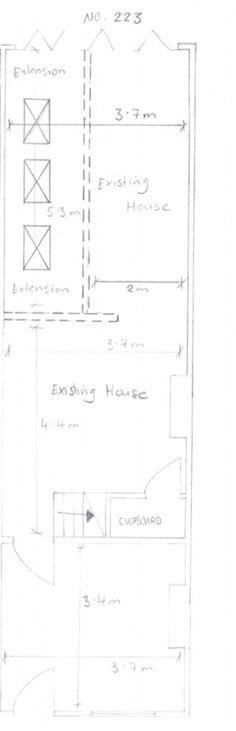 Kitchen Extension Terraced House, Kitchen Extension Side Return, House Extension Plans, Kitchen Diner Extension, Side Extension, Extension Designs, House Extension Design, Extension Ideas, Wraparound Extension
