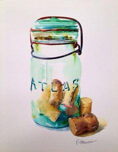 Original Art Atlas Mason Jar Watercolor