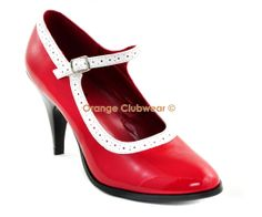 Demonia Betty 01 Womens Sexy Vintage Pinup Style Red Mary Janes High Heels Shoes | eBay