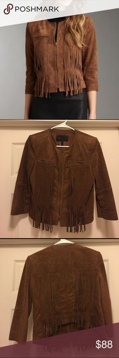 BCBGMaxazria suede fringe jacket BCBGMAXAZRIA toffee/chestnut color suede fringe jacket. Cropped with 3/4 sleeves. Excellent used condition. Size small. BCBGMaxAzria Jackets & Coats Blazers