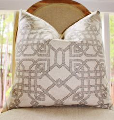 *Front Only: Natural Textured Linen Espresso Dark Brown Lattice Geometric Design Cotton Fabric *Back Only: Ivory Duck Cotton Fabric    *This listing