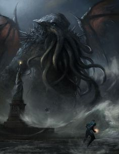 Cthulhu is one of the primary great old ones of lovecraft's cthulhu mythos, a race of alien deities that are comparable to cosmic beings and archdemons in Hp Lovecraft, Lovecraft Cthulhu, Cthulhu Art, Call Of Cthulhu, Cthulhu Tattoo, Arte Horror, Horror Art, Dark Fantasy Art, Digital Art Illustration