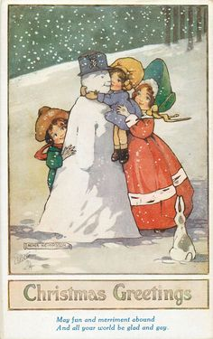 CHRISTMAS GREETINGS  childen embrace snowman, rabbit observes - Art by AGNES RICHARDSON