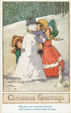 CHRISTMAS GREETINGS  childen embrace snowman, rabbit observes - Art by AGNES RICHARDSON