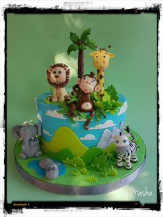 Jungle animals cake First Birthday Parties, First Birthdays, Jungle Animals, Cakes, Party, Desserts, Food, Postres, First Anniversary