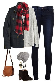 """J.crew field jacket, buffalo check scarf & cable knit beanie"" by steffiestaffie ❤ liked on Polyvore featuring J Brand, Chloé, Madewell, J.Crew, Johnston & Murphy, Kendra Scott and Michael Kors"