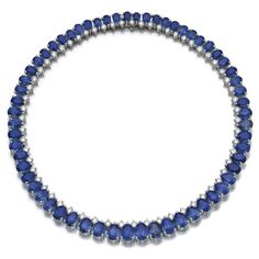 Sapphire and diamond necklace, BVLGARI . Set with pear-shaped sapphires and a sapphire, highlighted with brilliant-cut diamonds, inner circumference approximately 370mm, signed Bvlgari.