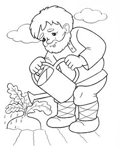 Дед поливает репку - раскраска №375 Colouring Pages, Coloring Pages For Kids, Adult Coloring, Coloring Books, Russian Folk Art, Human Drawing, Maila, Daycare Crafts, School Events