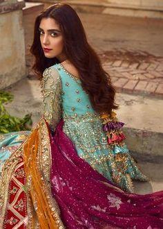 "Maya Ali Poses for ""Ghar Nari"" Bridal Collection Desi Wedding Dresses, Beautiful Bridal Dresses, Wedding Wear, Wedding Bells, Pakistani Bridal Dresses, Pakistani Dress Design, Dress Indian Style, Indian Wear, Indian Outfits"