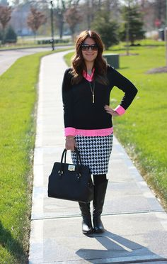 Houndstooth skirt with pink and black