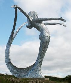 "steel sculpture created by award winning public artist Andy Scott, in his Maryhill studio in Glasgow, and galvanised to protect it against the elements  ""Arria"", the 10 metre high finished ""Angel of the Nauld"" sculpture sits on its site overlooking the North bound carriageway of the M80 north"
