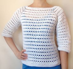 Striped Eyelet Sweater - 9 Sizes - PDF Crochet Pattern - Instant Download