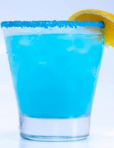 Blue Pacific Sangria - white wine, cup of rum, half cup blue curacao half cup sugar, pineapple and oranges can of 7up