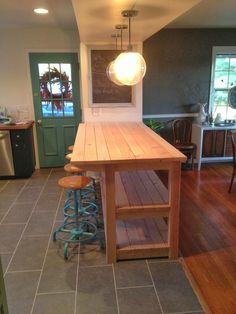 52 ideas diy kitchen island with seating cabinets dining rooms Long Narrow Kitchen, Narrow Kitchen Island, Kitchen Small, Moveable Kitchen Island, Pallet Kitchen Island, Green Kitchen, How To Build Kitchen Island With Seating, Long Kitchen Islands, Pallet Island
