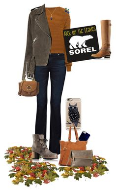 """Kick Up the Leaves (Stylishly) With SOREL - Contest Entry"" by fsg-designs ❤ liked on Polyvore featuring AG Adriano Goldschmied, TIBI, SOREL, AllSaints, MICHAEL Michael Kors, Elizabeth Raine, Andara, Casetify, Elle & Jae Gypset and Hammitt"