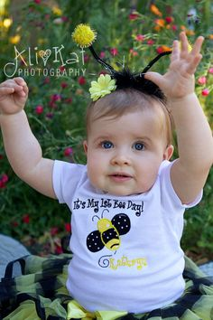 Bumble Bee 1st Birthday Onesie Personalized Party Theme. $24.00, via Etsy.
