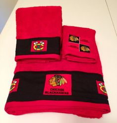 Chicago Blackhawks Towel Set By Mytimecreations On Etsy 25 00